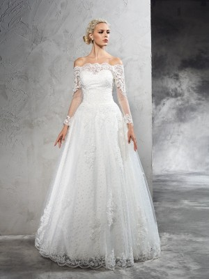 Ball Gown Off-the-Shoulder Long Sleeves Floor-Length Lace Net Wedding Dresses