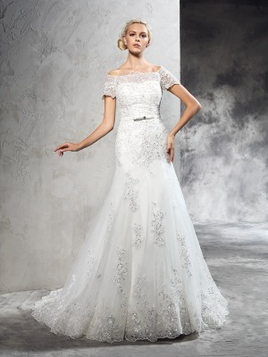 Sheath/Column Off-the-Shoulder Short Sleeves Court Train Applique Net Wedding Dresses