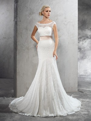 Sheath/Column Sheer Neck Sleeveless Court Train Sash/Ribbon/Belt Lace Wedding Dresses