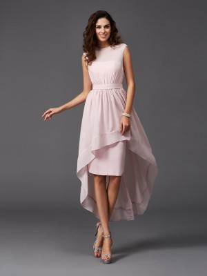 A-Line/Princess Sleeveless Scoop Asymmetrical Sash/Ribbon/Belt Chiffon Bridesmaid Dresses