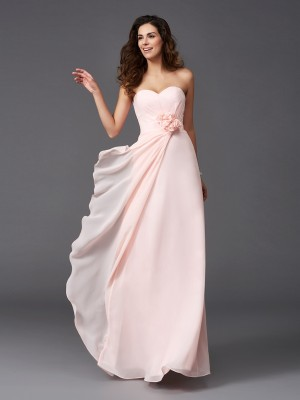 A-Line/Princess Sweetheart Sleeveless Floor-Length Hand-Made Flower Chiffon Bridesmaid Dresses
