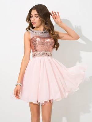 A-Line/Princess Sheer Neck Sleeveless Short/Mini Sequin Chiffon Dresses