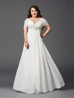 A-Line/Princess Off-the-Shoulder Short Sleeves Floor-Length Ruched Chiffon Plus Size Dresses