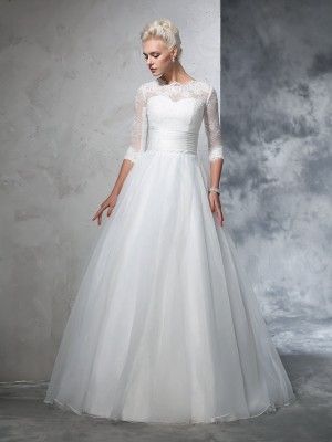 Ball Gown Jewel 3/4 Sleeves Floor-Length Applique Organza Wedding Dresses