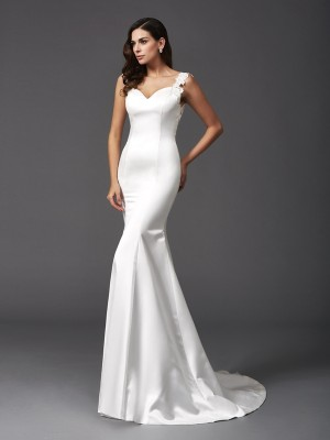 Trumpet/Mermaid Sleeveless Straps Sweep/Brush Train Beading Satin Wedding Dresses