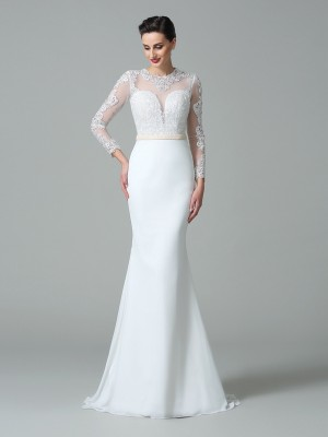 Trumpet/Mermaid Long Sleeves Jewel Sweep/Brush Train Lace Satin Wedding Dresses