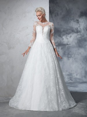 Ball Gown Jewel Long Sleeves Court Train Lace Lace Wedding Dresses