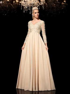 A-Line/Princess V-neck Long Sleeves Floor-Length Applique Chiffon Dresses