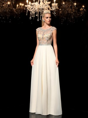 A-Line/Princess Sleeveless Sheer Neck Floor-Length Rhinestone Chiffon Dresses