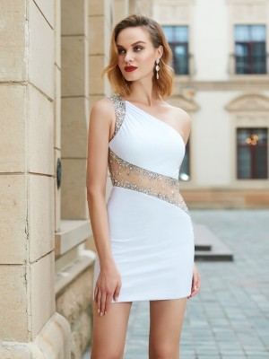 Sheath/Column One-Shoulder Sleeveless Short/Mini Beading Net Dresses