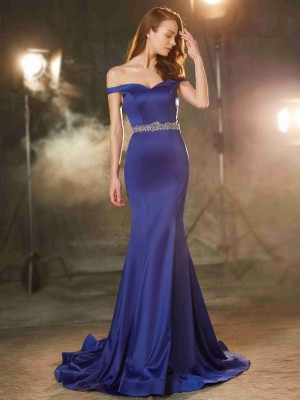 Trumpet/Mermaid Sleeveless Off-the-Shoulder Sweep/Brush Train Crystal Satin Dresses