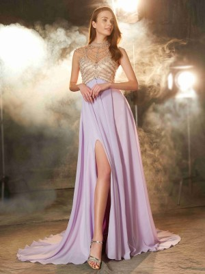 A-Line/Princess Sleeveless High Neck Sweep/Brush Train Crystal Chiffon Dresses