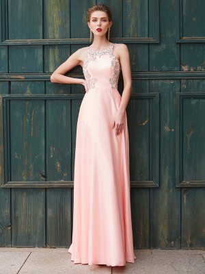 A-Line/Princess Scoop Sleeveless Floor-Length Beading Satin Dresses