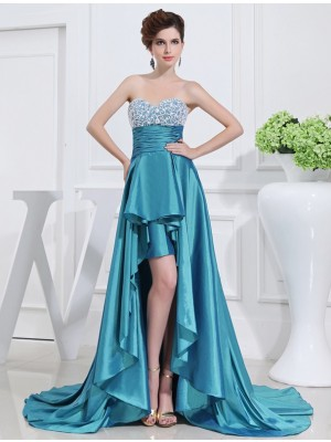 A-Line/Princess Sleeveless Sweetheart Asymmetrical Beading Taffeta Dresses