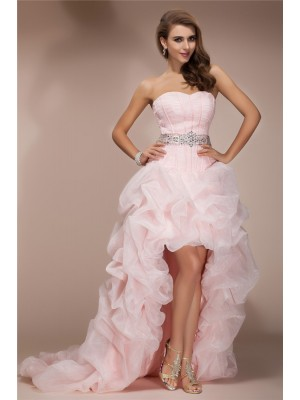A-Line/Princess Sleeveless Sweetheart Asymmetrical Beading Organza Dresses