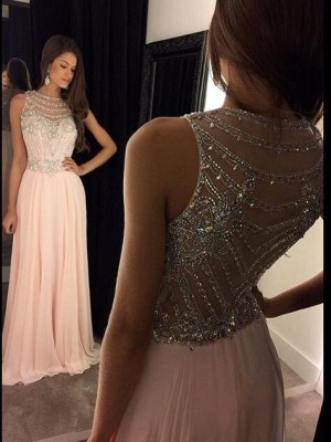 A-Line/Princess Scoop Sleeveless Sweep/Brush Train Crystal Chiffon Dresses