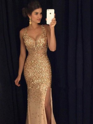 Sheath/Column V-neck Sleeveless Court Train Sequin Jersey Dresses