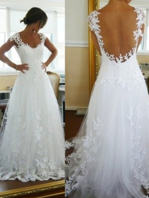 A-Line/Princess V-neck Sleeveless Sweep/Brush Train Lace Tulle Wedding Dresses