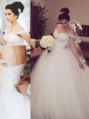 Ball Gown Off-the-Shoulder Sleeveless Court Train Lace Tulle Wedding Dresses
