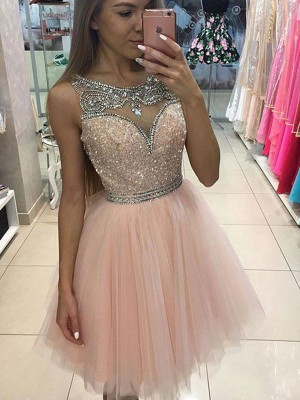 A-Line/Princess Scoop Sleeveless Short/Mini Beading Tulle Dresses