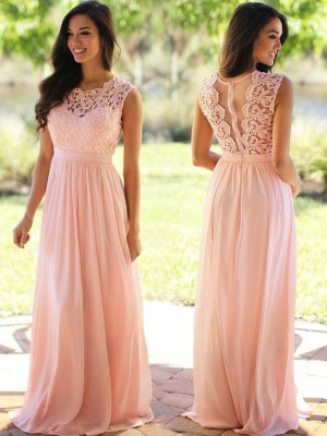 A-Line/Princess Sleeveless Scoop Floor-Length Applique Chiffon Bridesmaid Dresses