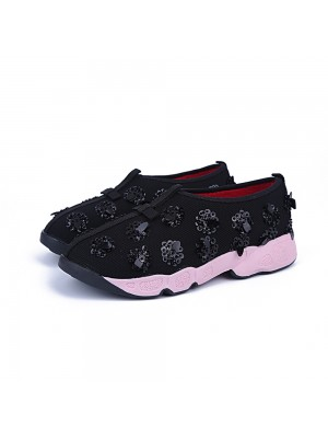 Women's Net Flat Heel Closed Toe Casual Black Fashion Sneakers