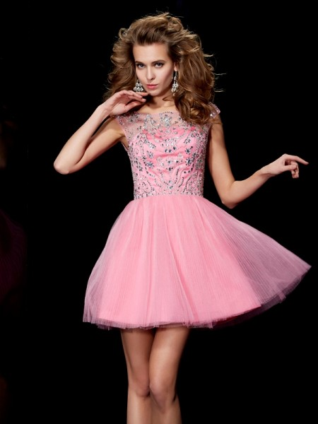 A-Line/Princess Sleeveless Bateau Short/Mini Beading Satin Dresses