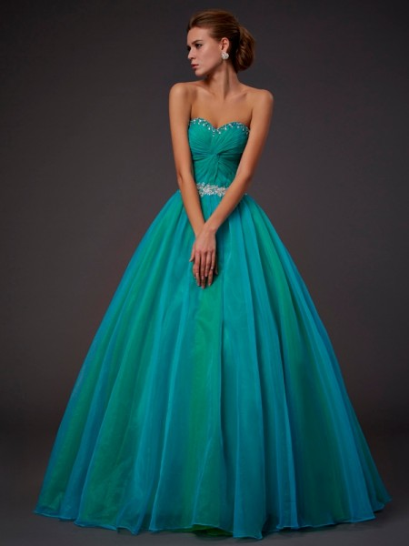 Ball Gown Sleeveless Sweetheart Floor-Length Beading Tulle Dresses