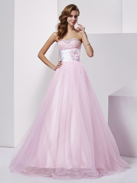 Ball Gown Sweetheart Sleeveless Floor-Length Beading Elastic Woven Satin Dresses