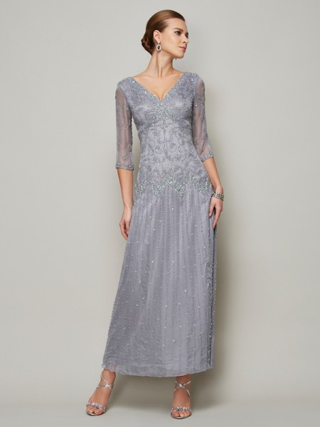 Sheath/Column 1/2 Sleeves V-neck Ankle-Length Beading Elastic Woven Satin Mother of the Bride Dresses