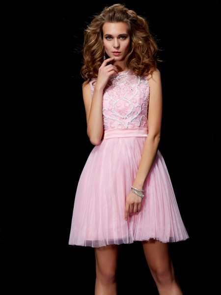 A-Line/Princess Scoop Sleeveless Short/Mini Beading Elastic Woven Satin Dresses