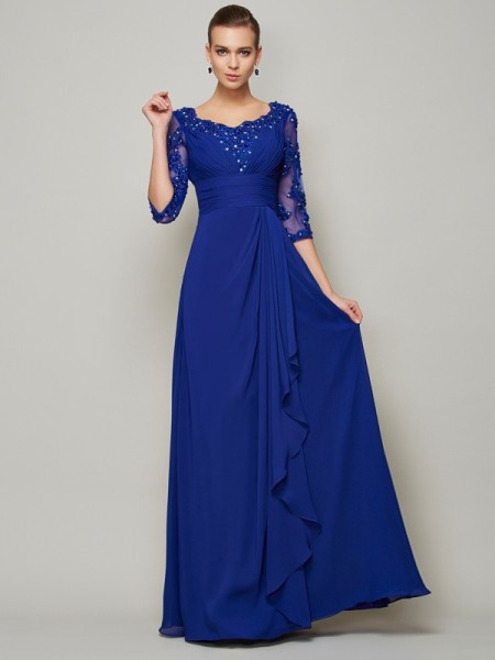 A-Line/Princess Scoop 3/4 Sleeves Floor-Length Lace Chiffon Mother of the Bride Dresses