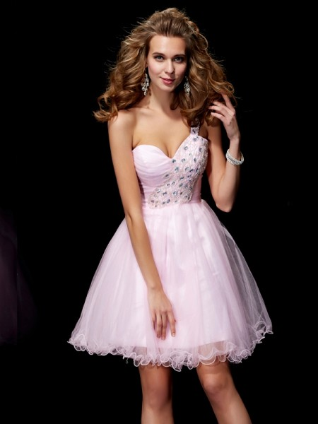 A-Line/Princess One-Shoulder Sleeveless Short/Mini Beading Elastic Woven Satin Dresses