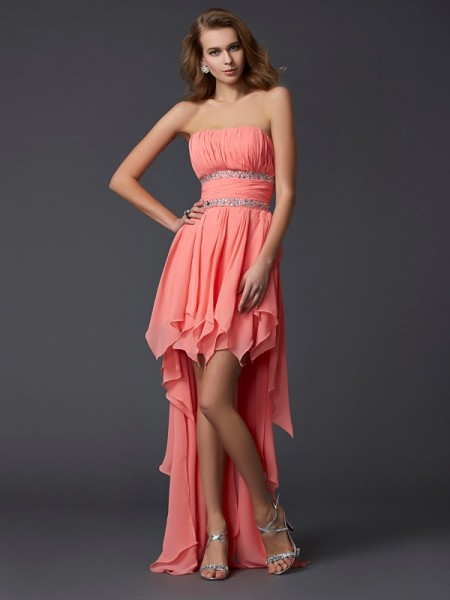 Empire Sleeveless Strapless Asymmetrical Ruffles Chiffon Dresses