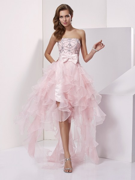 A-Line/Princess Sleeveless Strapless Asymmetrical Beading Organza Dresses
