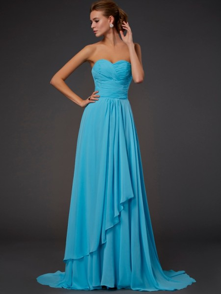 A-Line/Princess Sweetheart Sleeveless Floor-Length Pleats Chiffon Dresses