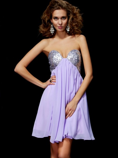 Sheath/Column Sleeveless Sweetheart Short/Mini Paillette Chiffon Dresses