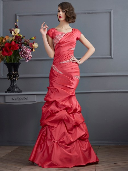 Trumpet/Mermaid Scoop Short Sleeves Floor-Length Beading Taffeta Dresses