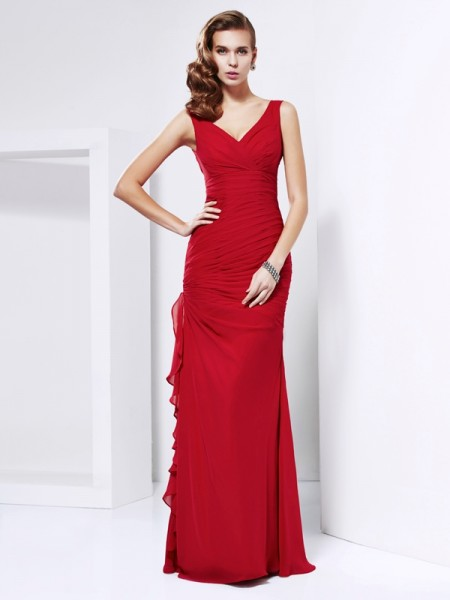 Sheath/Column V-neck Sleeveless Floor-Length Ruched Chiffon Dresses