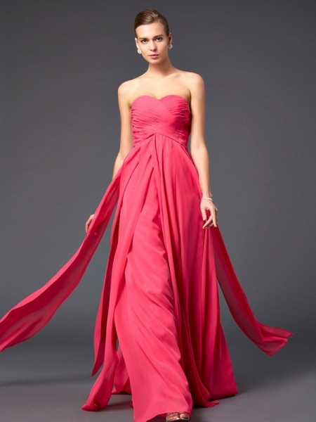 Sheath/Column Sleeveless Sweetheart Sweep/Brush Train Ruffles Chiffon Dresses