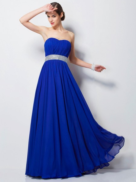 Empire Sweetheart Sleeveless Floor-Length Beading Chiffon Dresses