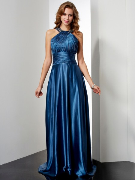 A-Line/Princess Halter Sleeveless Floor-Length Ruffles Elastic Woven Satin Dresses