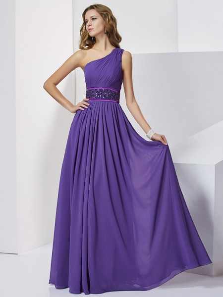 Empire Sleeveless One-Shoulder Floor-Length Beading Chiffon Dresses