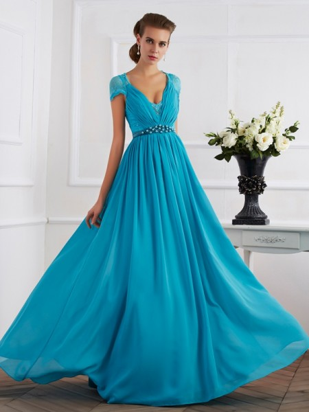 A-Line/Princess V-neck Short Sleeves Floor-Length Beading Chiffon Dresses