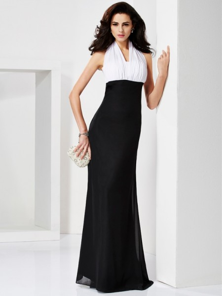 Trumpet/Mermaid Sleeveless Halter Floor-Length Pleats Chiffon Dresses