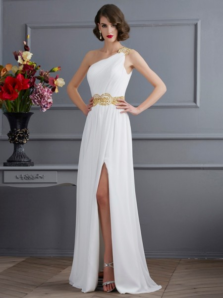 A-Line/Princess One-Shoulder Sleeveless Sweep/Brush Train Ruched Chiffon Dresses