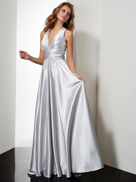 Sheath/Column Halter Sleeveless Floor-Length Pleats Elastic Woven Satin Dresses
