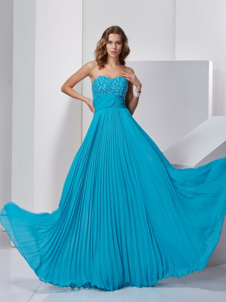 A-Line/Princess Sweetheart Sleeveless Sweep/Brush Train Beading Chiffon Dresses