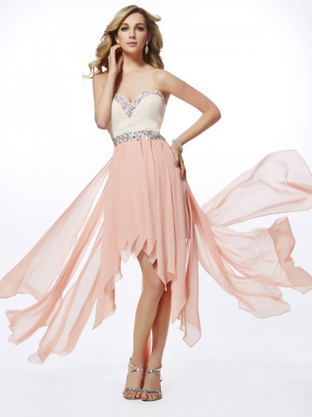 A-Line/Princess Sleeveless Sweetheart Asymmetrical Beading Chiffon Dresses