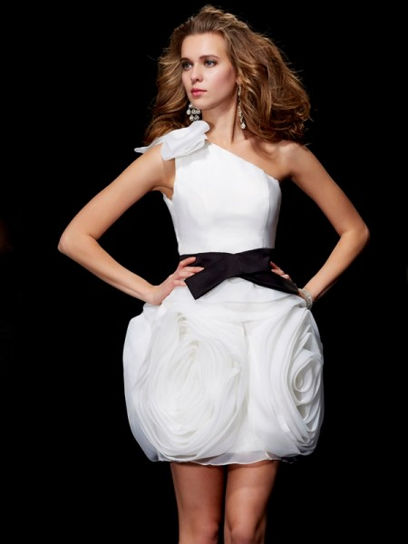 Sheath/Column One-Shoulder Sleeveless Short/Mini Tulle Dresses